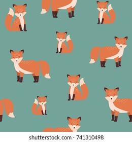Gorgeous seamless pattern with sitting and standing red cute fox on green background. Backdrop with funny cartoon forest animal. Vector illustration for fabric print, wallpaper, wrapping paper.