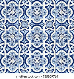 Gorgeous seamless pattern white blue Moroccan, Portuguese tiles, Azulejo, ornaments. Can be used for wallpaper, pattern fills, web page background,surface textures