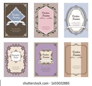 Gorgeous vintage antique ornament border, cover template, calligraphic illustrations, vector data.6-piece set of frames and templates.