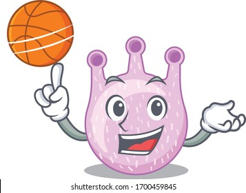 Gorgeous viridans streptococci mascot design style with basketball