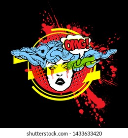 Gorgon Medusa Head. Vector illustration of pretty female face with snakes crown, halftone and paint splashes on black background. Modern fashionable tee shirt print or label design.