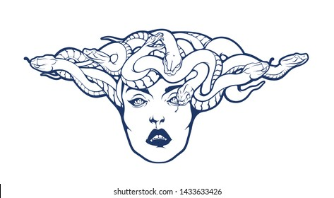 Gorgon Medusa Head. Vector illustration of pretty female face with snakes crown isolated on white background. Stylish fashionable tee shirt print, logo or cool tattoo design.