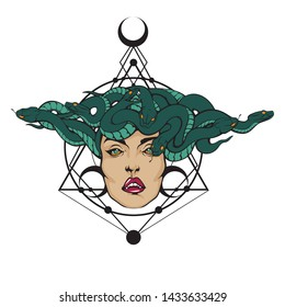 Gorgon Medusa Head. Vector illustration of pretty female face with snakes crown and sacred geometry on the background. Stylish fashionable tee shirt print, logo or cool tattoo design.
