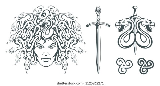 Gorgon Medusa - monster with a female face and snakes instead of hair. Sword. Medusa head. Greek mythology. Hand drawn traditional Greek ornament. Snake tattoo. Vector graphics to design