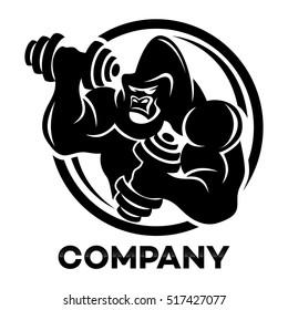 Gorilla athlete with dumbbells logo