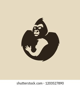 Gorilla with gorilla baby logo