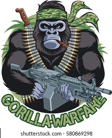 gorilla with bandana, cigar, holding machine gun and  text gorilla warfare