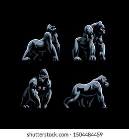 Gorilla. Big monkey. Set of Vector illustrations.