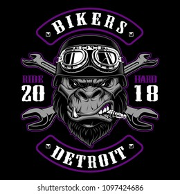 Gorilla Biker with crossed wrenches. Design of patch with motorcycle rider. Graphic for shirt . Color version. (ALL ELEMENTS, COLORS, TEXT ARE ON THE SEPARATE GROUPS).