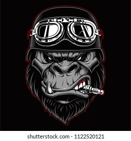 Gorilla biker mascot with spark plug in the mouth.