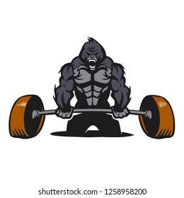 Gorilla  bodybuilder with a barbell