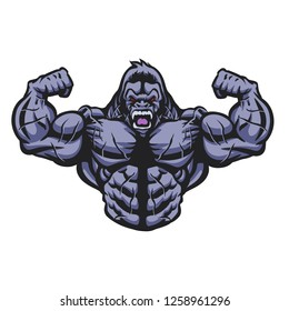 Gorilla bodybuilder performs illustration