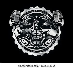 Gorilla Bodybuilding Muscles Gym Workout Beast Fitness Vector
