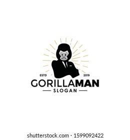Gorilla business worker man logo silhouette with head of aimal head and human body. unique cool design. wear suit coat, tie like a boss. Vintage modern look Apply to web site, smart mobile phone, art