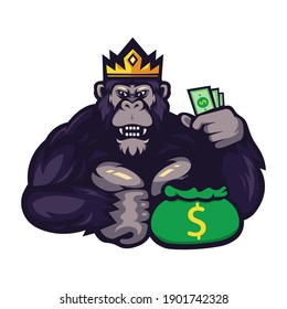Gorilla cartoon mascot logo design vector with transparent background. The king of gorillas holding money