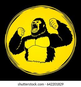 Gorilla designed on moonlight background graphic vector