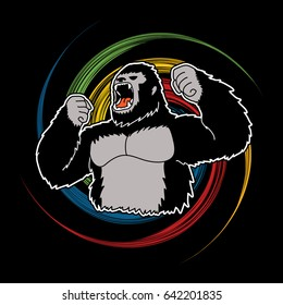 Gorilla designed on spin wheel background graphic vector