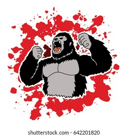 Gorilla designed on splash blood background graphic vector