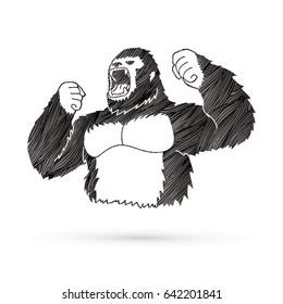 Gorilla designed using grunge stroke graphic vector