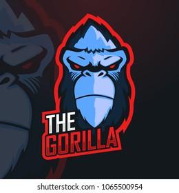 Gorilla Esport Mascot Logo Design for Gamer,Team,Stramer