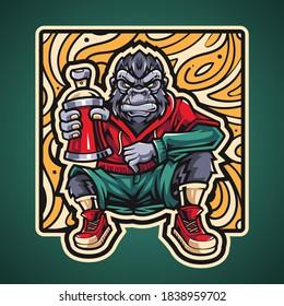 Gorilla esport mascot logo design