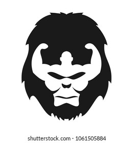 Gorilla face and bodybuilder Symbol. Vector logo.