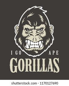 Gorilla face and head. Vector illustration.