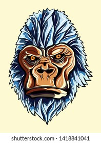 the gorilla face illustration with line color art vector