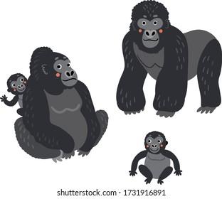 Gorilla Family Vector monkeys set. Cute Illustration