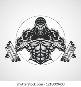 gorilla fitnes gym vector