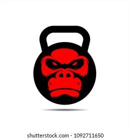 Gorilla fitness icon, Fitness mascote, gorilla mascot, Gorilla illustration for fitness