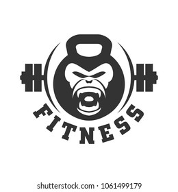Gorilla and fitness vector logo. Eps 08.