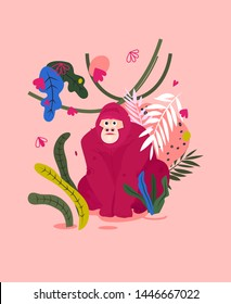 Gorilla flat hand drawn card. Cute monkey character on jungle illustration. Palm leaves, flowers and exotic animal print in simple abstract style . Wild African rainforest, jungle animal vector poster