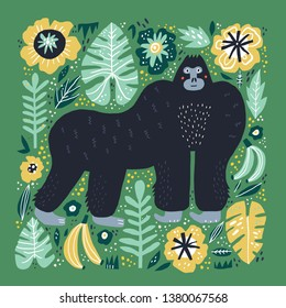 Gorilla flat hand drawn illustration. Cute cartoon primat character on botanical background. Bananas, palm leaves, flowers in scandinavian style. Wild African rainforest, jungle animal vector poster