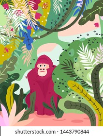 Gorilla flat hand drawn illustration. Cute cartoon monkey character on jungle background. Bananas, palm leaves, flowers in simple abstract style. Wild African rainforest, jungle animal vector poster