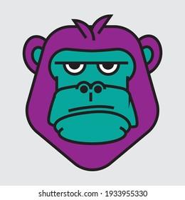 gorilla flat logo design illustration