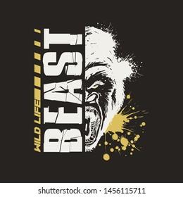 Gorilla Graphic Vector Design T-shirt with paint splashes. Wild Life Beast.