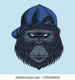 Gorilla head Cap vector illustration for your company or brand