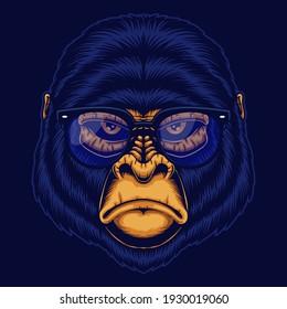 Gorilla Head eyeglasses vector illustration for your company or brand