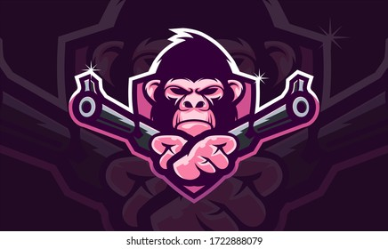 Gorilla head holding two gun, tactical team, Airsoft gun or Paintball club logo. Design element for company logo, label, emblem, apparel or other merchandise. Scalable and editable Vector illustration