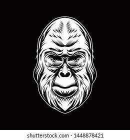 Gorilla Head Illustration in Black Background