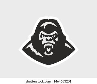 Gorilla  head logo. Monkey emblem design editable for your business. Vector illustration.