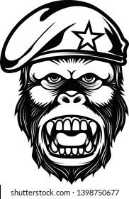 Gorilla head with military berets Vector in black and white