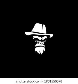 Gorilla head in monochrome style in the panama hat. Vector illustration