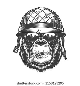 Gorilla head in monochrome style in soldier helmet with sigarette. Vector illustration