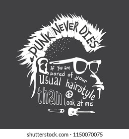 Gorilla head with punk hair and sun glasses T-Shirt print design. Punk never dies poster