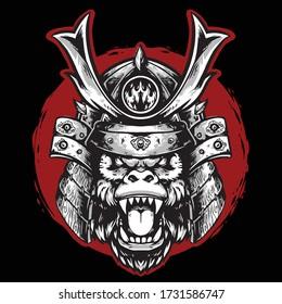 gorilla head samurai with helmet vector mascot design