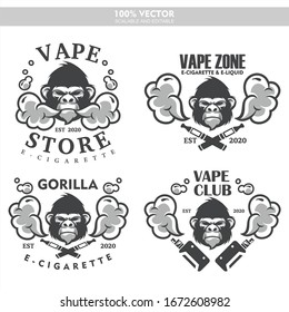 Gorilla head vapor e-cigarette vape vaporizer cigarette vape vaporizer electrical electronic smoke vaping label set Vintage style logo. Scalable and editable Vector illustration.
