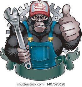 gorilla holding wrench and giving thumb up
