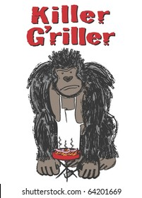 Gorilla with Hot Dogs on Grill